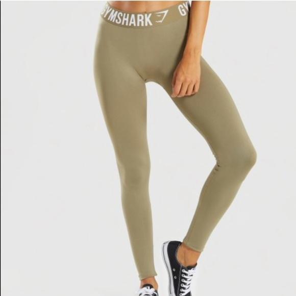 Gymshark Pants - GYMSHARK KHAKI/WHITE LEGGING